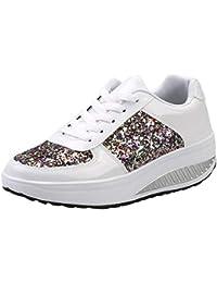 9677b6f36a4463 Femmes Dames Compensées Sneakers Paillettes Shake Chaussures Mode Filles  Chaussures de Sport Semelles compensées Chaussures à