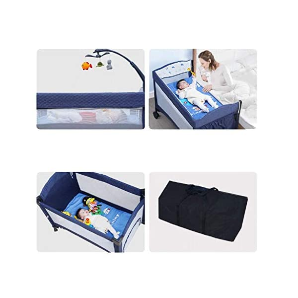 Yyqt Baby Cot,Baby Changing Station Travel Cot Foldable, Padded Borders, Carry Bag, Rounded Edges, 6 Designs Yyqt ♥ Premium & Durable Material:The cot made of iron pipe and Oxford cloth, sturdy and stable, which also guarantees a long life ♥See-through safety mesh:It features mesh cloth on both sides, this netted areas allow your baby to see out clearly as well as an onlooker to see in to her/him, and it also offers great ventilation for your baby. ♥Easy to Move:It designed in two wheels and two legs, you can move it around easily without any problems with the help of two wheels, and there is no issue to worry the stability due to the two sturdy legs. 5