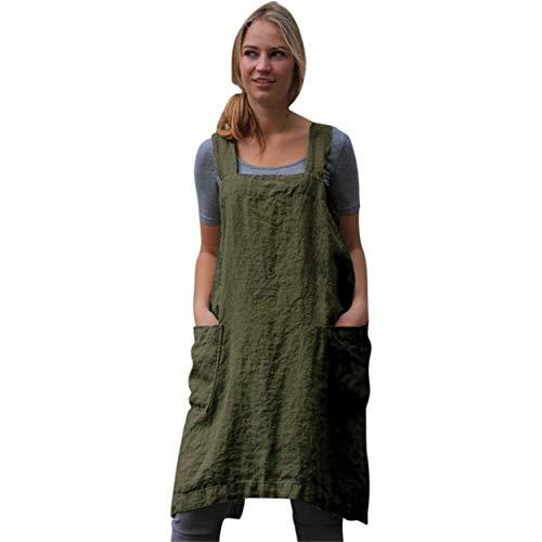 Dames Robe en Lin Femmes Robe sans Manches Coton Tablier carré Tablier Croix de Travail de Jardin Jupe Tablier Summer Bellelo