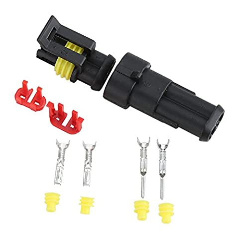 Fafada 10 Kits 2-Pin Electrical Connector Plug Set Waterproof for Car Truck