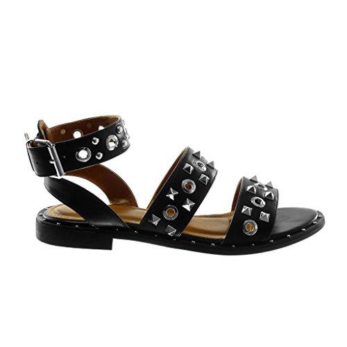 Angkorly Chaussure Mode Sandale Lanière Cheville Femme Clouté Perforée Lanière Talon Bloc 2 CM Noir