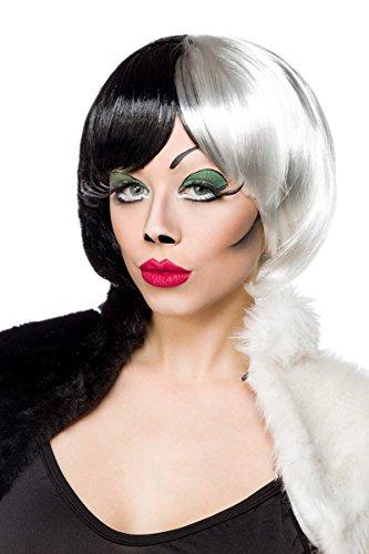 Perücke Cruel Lady Wig -schwarz/weiß, Größe (Perücke Schwarz Und Cruella Weiß)