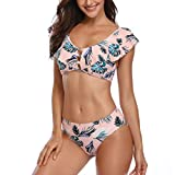 TUDUZ Bikini Damen Set Push Up für Kleine Brüste Drucken Badeanzug Rüschen Verband Bikinioberteile Swimsuit für Sommer Monokini Backless Tankini(S,Rosa)