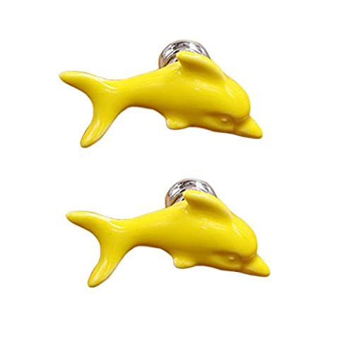 Set of 4 Cute Ceramic Dolphin Cabinet Knobs Drawer Pull