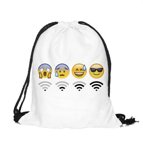 emoji sportbeutel Beutel Emoji Wifi White Aufdruck Fullprint Tasche Gymsac Turnbeutel Jutebeutel Print Bag Fitness [010]