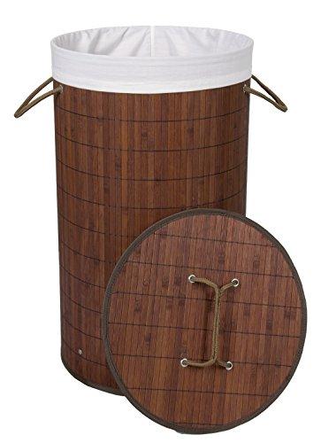 Kronenburg Bambus Wäschekorb Wäschesammler Rund mit Deckel, 58 cm x 35 cm Ø, Dunkelbraun
