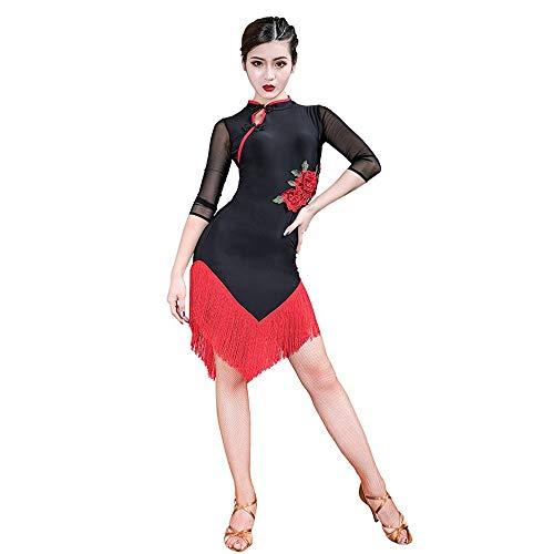 Chinesischen Kostüm Nationalen Weiblich - Xiao Jian- Latin Dance Kostüm Frühling und Sommer Weibliche Erwachsene Chinesischen Stil Quaste Latin Dance Nationale Norm Just Dance Praxis Kleidung Show Dance Rock Schwarz Hit Farbe Roter Fransenroc
