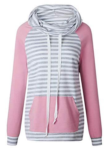 Hohem Ausschnitt Roll Rollkragen Raglan Sleeve Gestreift Gestreiftes Elbow Patch Young Fashion Colorblock Sweatshirt Oberteil Top (Color : Rosa, Size : L) Elbow Sleeve Hoodie