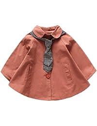 Gabardina Corta para Niña Infantil Niño,Gusspower Lindo Abrigo de Invierno Chaqueta con Bufanda Rayas Vestido Suelto Chaquetas de botón 1-5Años