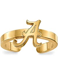 Sterling Silver W/GP LogoArt University Of Alabama Toe Ring