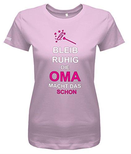 Bleib Ruhig Die Oma Macht Das Schon - Damen T-Shirt in Rosa by Jayess Gr. XL