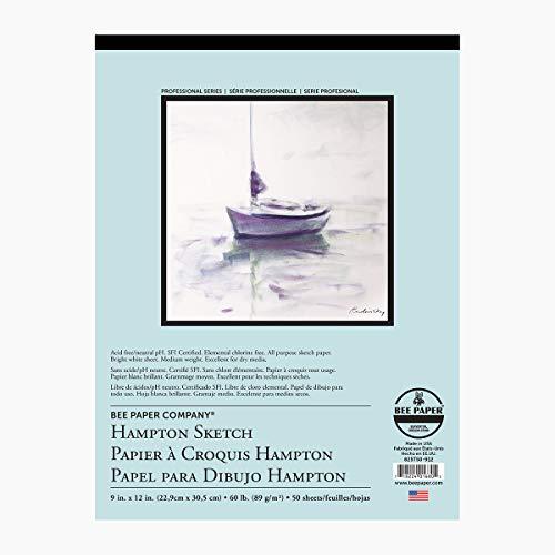 Hampton Skizzenrolle Bienenpapier 9-inch x 12-inch, 50 Sheet Tape Bound Pad -