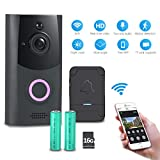 Wireless Video Doorbell,Deknei Smart 720P HD WiFi Security Camera with 16G Card,Real-Time 2-Way