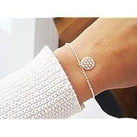 Personalisiertes Armband mit Lebensblume 925er Sterlingsilber. Blume des Lebens Flower of Life Gold