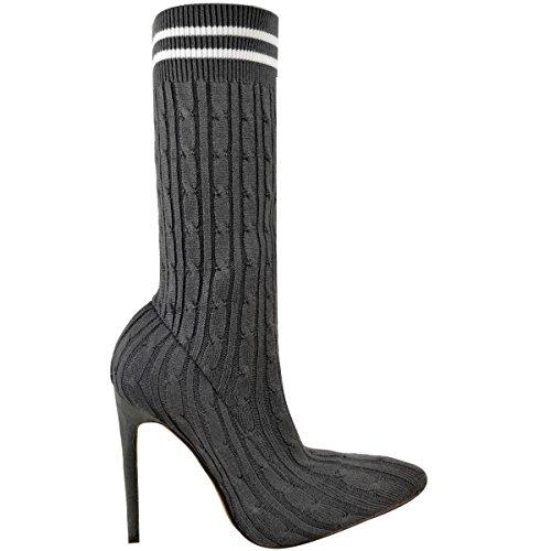 Damen Ankle Boots im Strumpf-Design - Strickmuster & Stiletto-Absatz - spitz Dunkelgrau Strickmuster