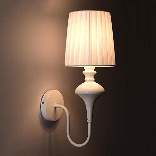 Wandleuchten Seeksung Bedroom Nachttischbeleuchtung, Treppenhaus Flur Balkonleuchten, Metalltuch E14 Weiß Schwarz 5W Warmes Licht Enthält Lichtquelle [Energieklasse A ++], A