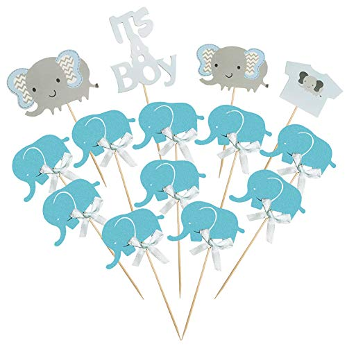 (blue) - Winko Blue Elephant Cake Topper Baby Elephant Themed Cupcake Picks It is A Boy Baby Shower Birthday Party Decorations Supplies
