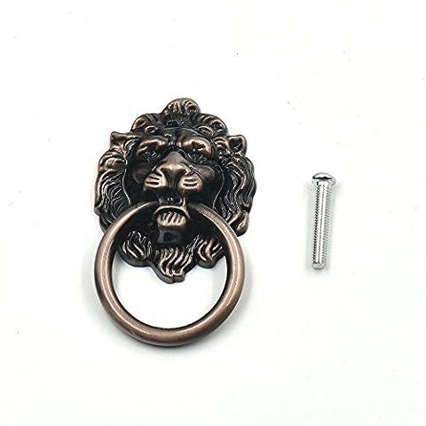 5 Pcs Handle Knob Cabinet Furniture Door Pull Dresser Drawer Ring Vintage Lion Head (RedBronze)