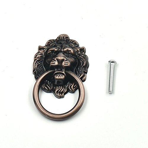 5PCS Griff Knauf Schrank Möbel Tür Ziehen Dresser Schublade Ring Vintage Lion Head RedBronze (Ring-pull 40mm)