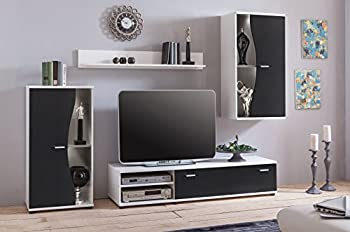 Modern Black Living Room Furniture Set Tv Unit Wall Mounted Cabinet Cupboar 0