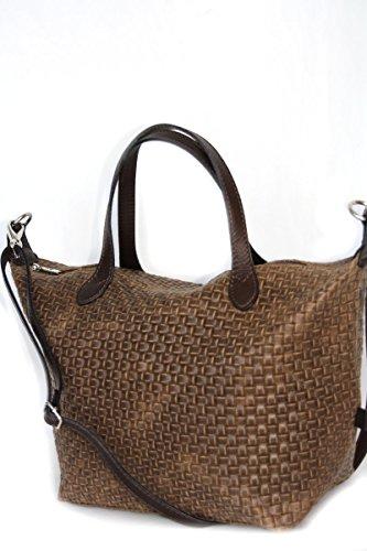 Borse in pelle, taglia media tote bag intrecciata mod. 2036 (34 / 26 / 15 cm) Italia Taupe