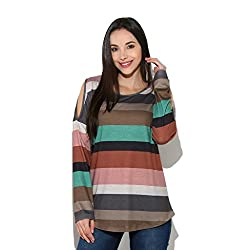 Amlaiworld Women Dresses ,Women Rainbow Striped Long Sleeve Tops Strapless Blouse T Shirt (S, Multicolor)