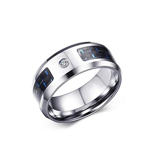 Daesar Anello in Acciaio per Incisione Anelli Fidanzamento Uomo Anello Argento Zirconi Anelli 8MM Nero Blu Fibra di Carbonio Anelli Taglia 25