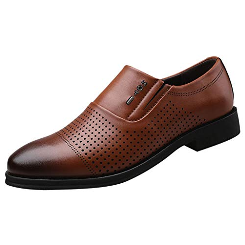 KonJin Shoes Men Leather Formal Oxford Fashion Casual Pointed Toe Slip On Breathable Hollow Wedding Business Shoes UK Size 5.5-10.5 Composite Toe Oxford
