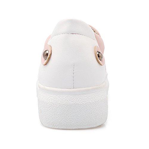VogueZone009 Damen Pu Leder Eingelegt Ziehen Auf Rund Zehe Niedriger Absatz Pumps Schuhe Pink