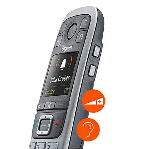 Gigaset E560A PLUS Schnurlostelefon + Freisprech-Clip mit SOS-Funktion - Hausnotruf - Anrufbeantworter / Grosse Tasten Telefon - platin - 5