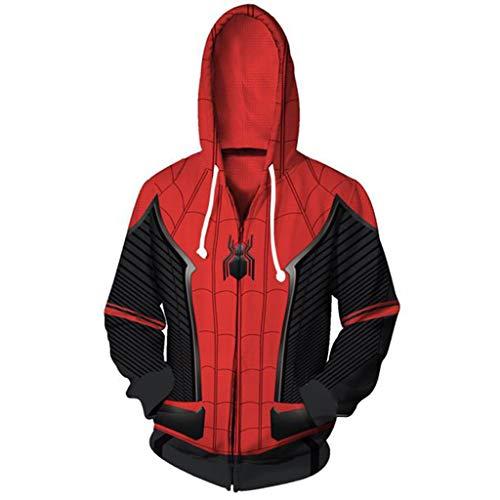 YKJL Unisex 3D Hoodie Spider-Man Fernab von Zuhause Kostüm Cosplay Filmfans Hoody mit Reißverschluss Lässige Langarm-Sweatshirt Herbst Wintermantel,Expedition2,4XL