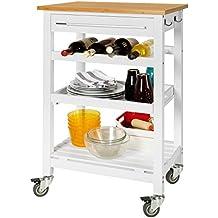 Sobuy Carrito de servir, estantería de cocina, carrito de cocina móvil, FKW16-WN,ES