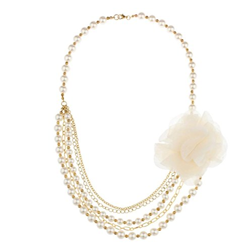 LUX Zubehör Faux Pearl Blume Kette Blumen Statement Halskette