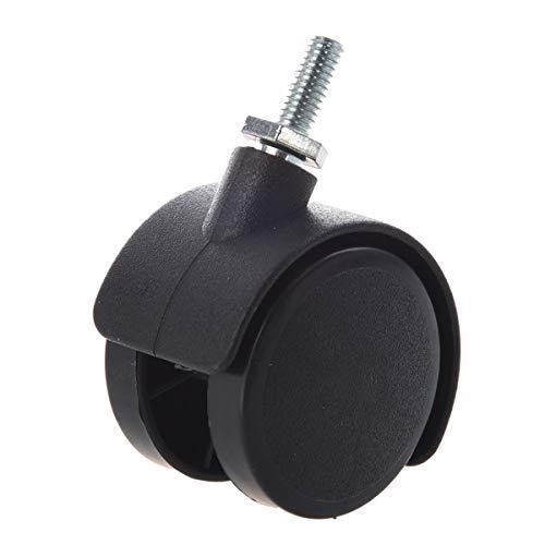 41dfUHI8h4L - Pie de rueda - 6 milímetros vástago roscado 40 milímetros de doble rueda giratoria Caster negro Herramienta necesaria