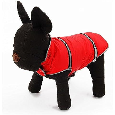 Wynce (TM) Pet Dog Clothes Pet Abbigliamento Red Snowsuit inverno cappotto caldo con riflettente banda Conservatore Coat