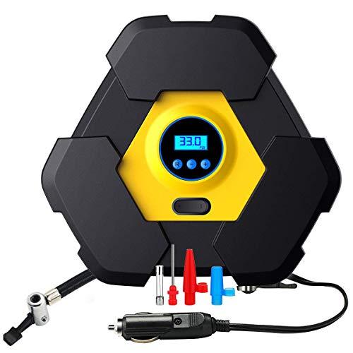 Preisvergleich Produktbild YLJYJ Luftpumpe Luftkompressor Reifendruckprüfer Digital Kompressor Tragbare Reifenpumpe mit 10ft Kabel LED Kompressor