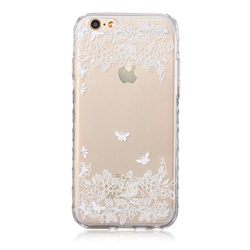 Custodia iPhone 6 Plus, iPhone 6S Plus Cover Glitter, SainCat Cover per iPhone 6/6S Plus Custodia Silicone Morbido, Custodia Bling Glitter 3D Design Transparent Silicone Case Ultra Slim Sottile Morbid Due Farfalle