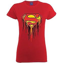 DC Comics - Camiseta de Manga Corta con Cuello Redondo para Mujer, Color Cherry Red, Talla 40