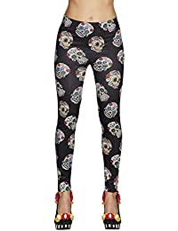 Boland 87863 Leggings Day of The Dead, Mehrfarbig, One Size