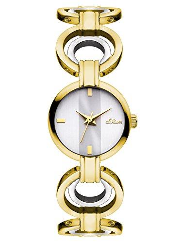 s.Oliver SO-3051-MQ - Reloj para mujeres, correa de acero inoxidable color dorado