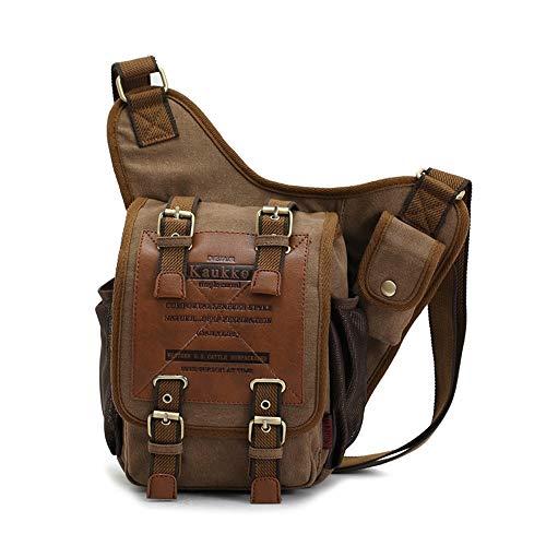 ZXF Outdoor-Sport Ritter Tasche Europa Und Amerika Schulter Messenger Bag Casual Canvas Tasche Retro-Mode Umhängetasche Reise (Farbe : Brown) - Europa-messenger Bag
