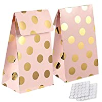 yizeda 24 Packs Paper Candy Favor & Treat Bags for All Parties,Pink with Gold Foil Polka Dots, Perfect for Birthday Parties, Baby Shower, Hen party, Weddings and Bridal Showers
