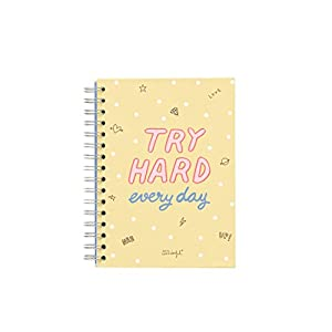 Mr. Wonderful ME2019N – Libreta pequeña con diseño Try Hard every day