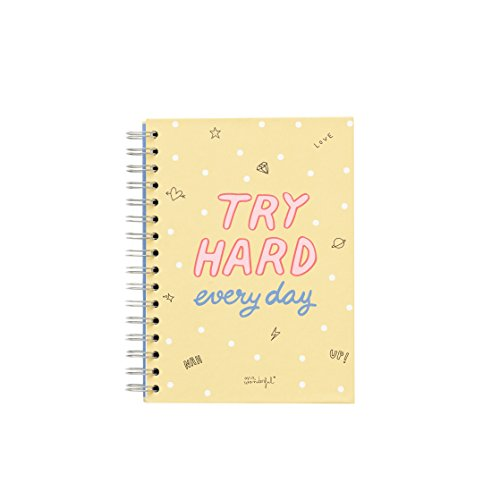 Mr. Wonderful ME2019N - Libreta pequeña con diseño Try Hard every day