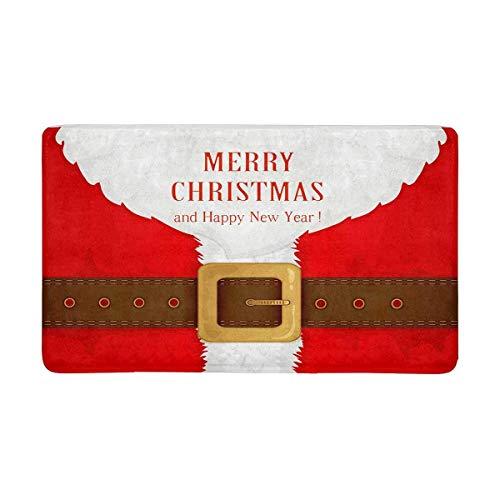 Soefipok Lustige bart und Santa Anzug mit gürtel Frohe Weihnachten fußmatte Rutschfeste Indoor und Outdoor fußmatte Teppich wohnkultur, Eingang Teppich fußmatten Gummi sichern, (Anzug Santa Authentisch)