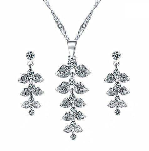 Wangjianfeng Ensemble de bijoux en feuille Collier en strass Boucles d'oreilles Bijoux de soirée