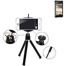 Smartphone trípode / soporte móvil / trípode como para Caterpillar Cat S50. Trípode de aluminio / trípode con soporte para el teléfono móvil, universal para todos los teléfonos inteligentes y las cámaras comunes. De color negro. Aferrarse trípode adaptador