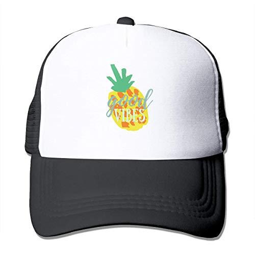 Ingpopol The Pineapple Good Vibes Trucker Hat Summer Mesh Cap with Adjustable Snapback Strap (Vibe Street Halloween)