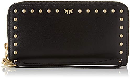 Pinko erie wallet zip around xl, portafoglio donna, (nero limousine), 3x11x21 cm (w x h x l)