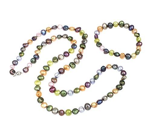 Treasurebay Schmuck-Set mit Halskette und Armband, bunte  unregelmäßige Süßwasserperlen Halskette und Armband Schmuck-Set, wird in einer wunderschönen Geschenkbox,